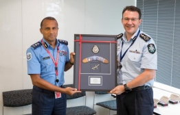 Australian Federal Police's Commissioner Reece P Kershaw and Commissioner of Police Mohamed Hameed. PHOTO: MALDIVES POLICE SERVICE